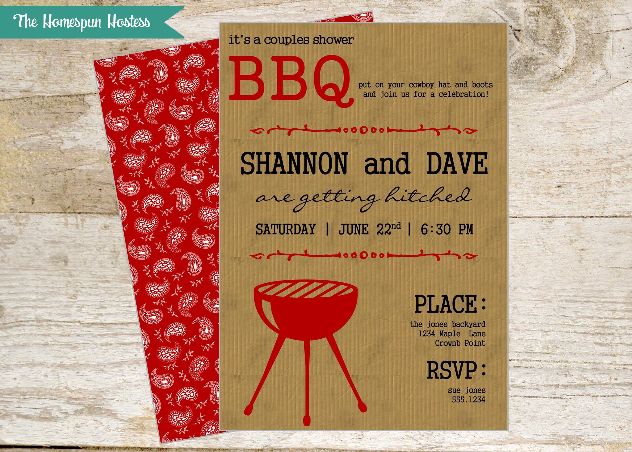BBQ Rustic Invite Couples Shower or Cook Out | The Homespun Hostess