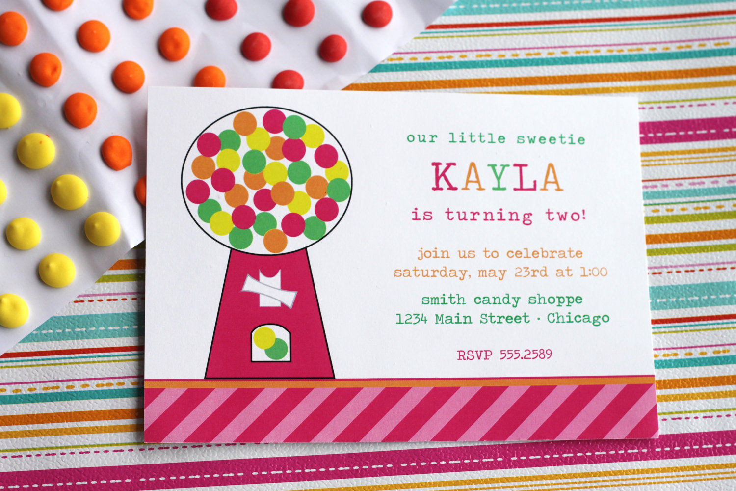 Candy Party Gumball Invite | The Homespun Hostess