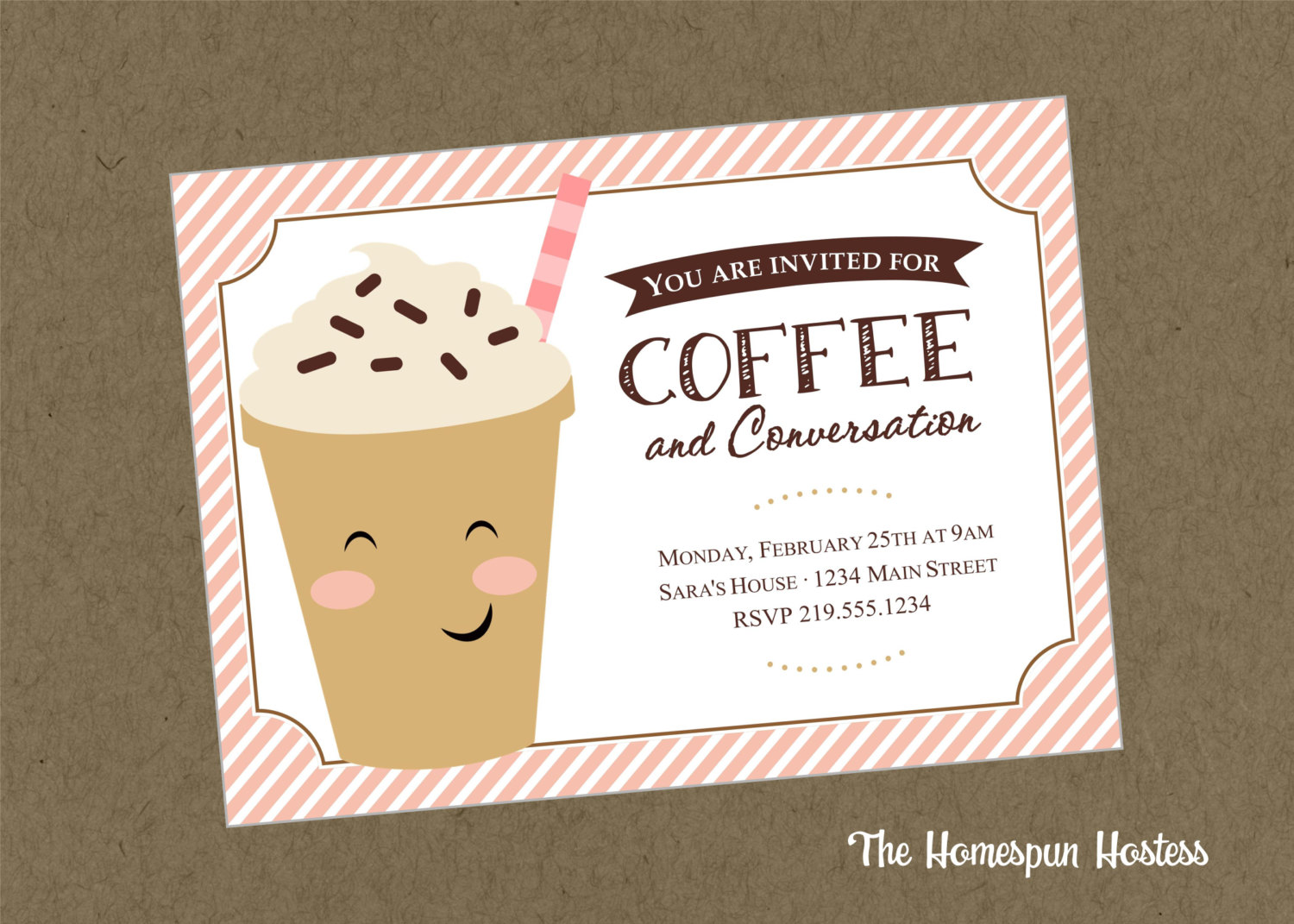 Coffee and conversation printable invite in pink the homespun coffee and conversation printable invite in pink stopboris Choice Image