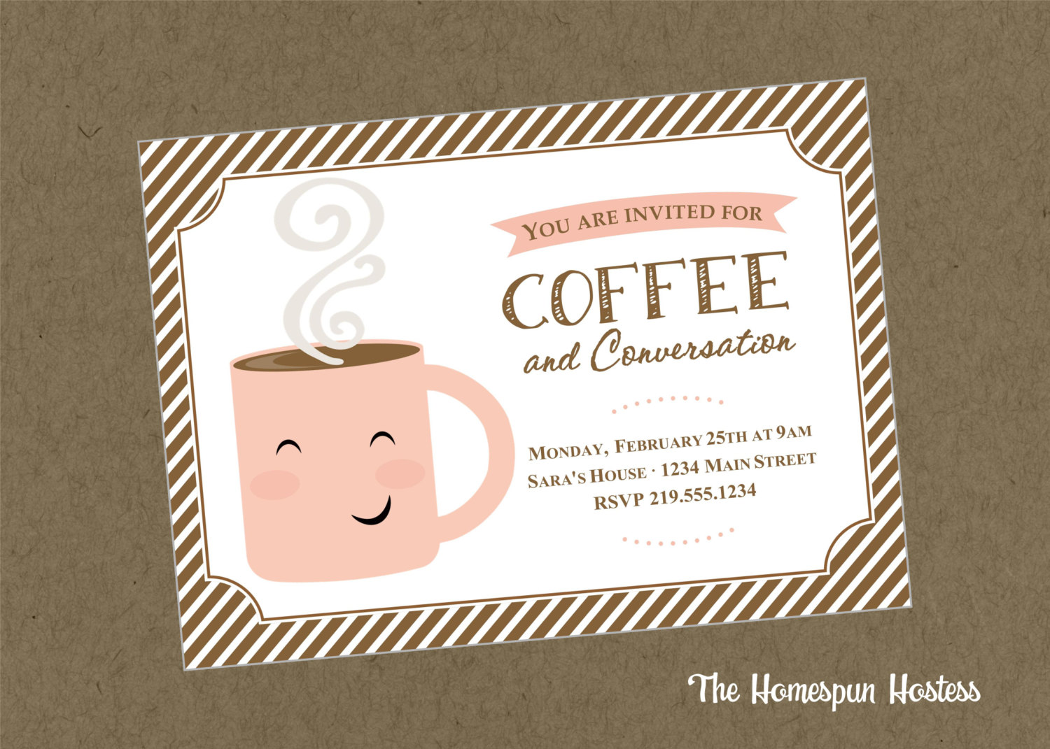 Coffee And Conversation Printable Invite In Brown The