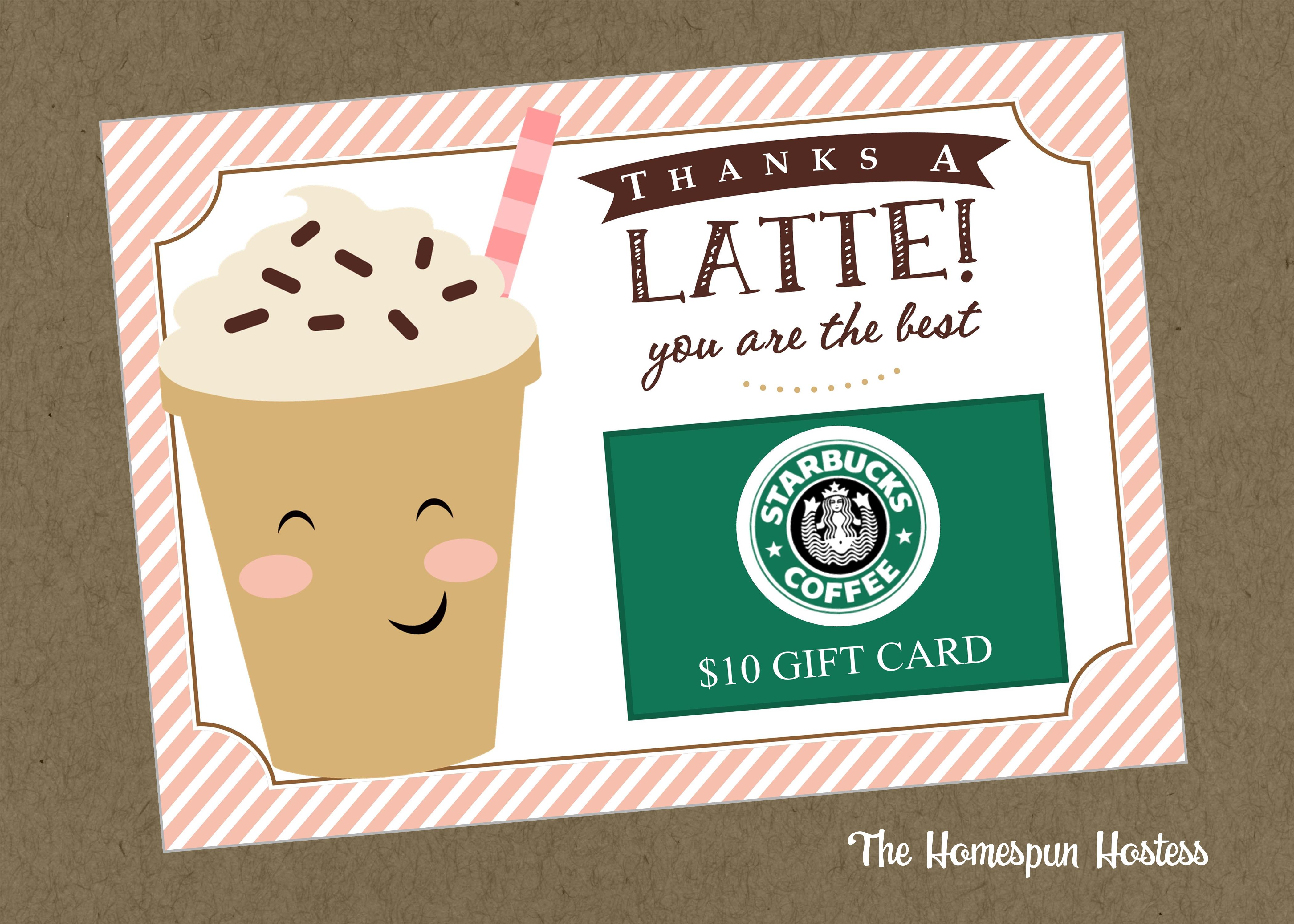 Thanks A Latte Card Instant Download The Homespun Hostess