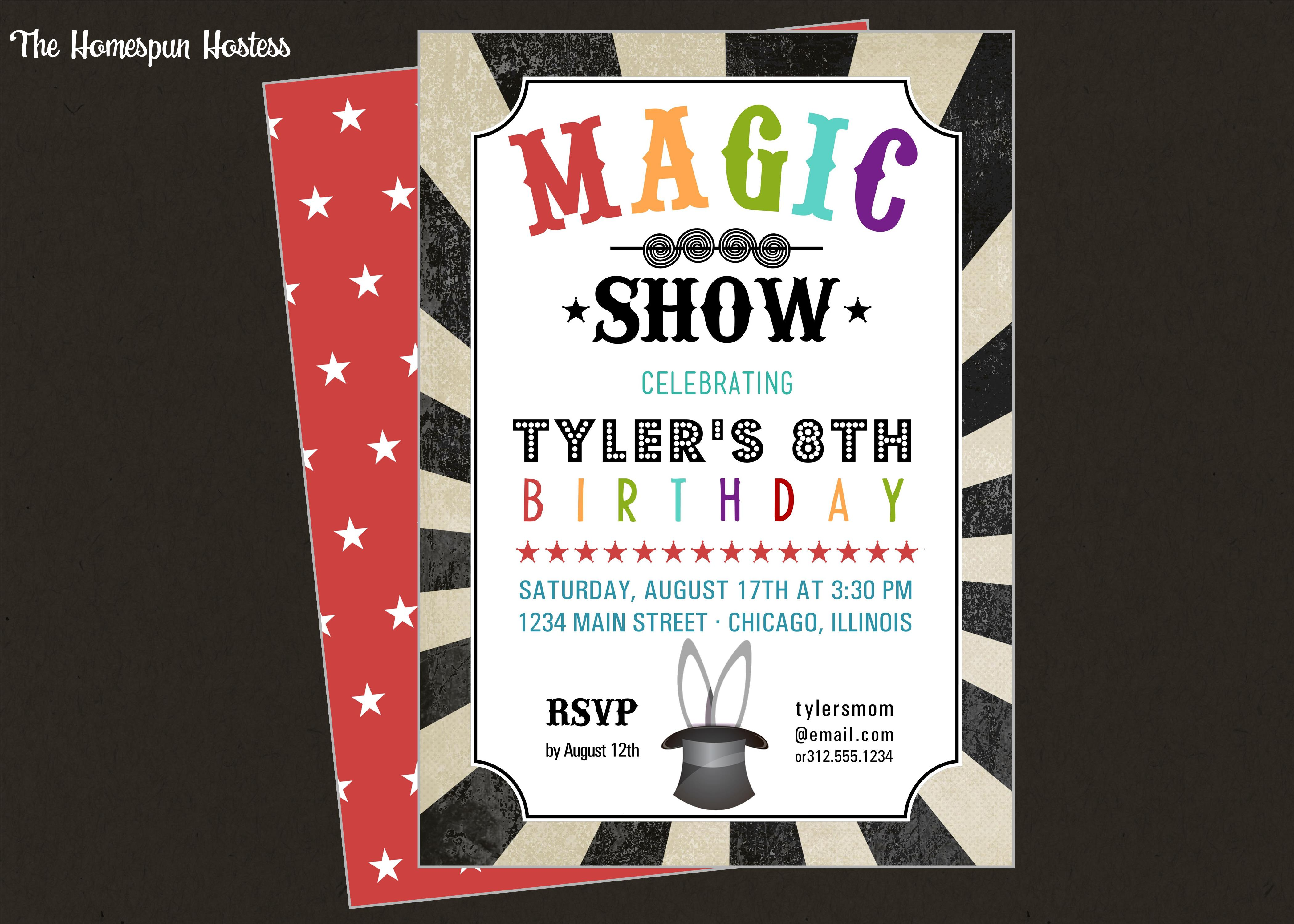Dorable Magic Show Party Invitations Pattern - Resume Ideas ...