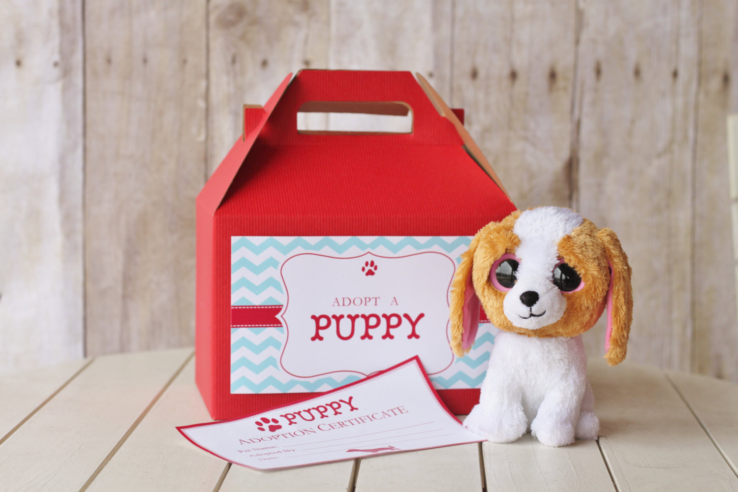 20 Puppy Adoption Boxes And Certificates The Homespun Hostess