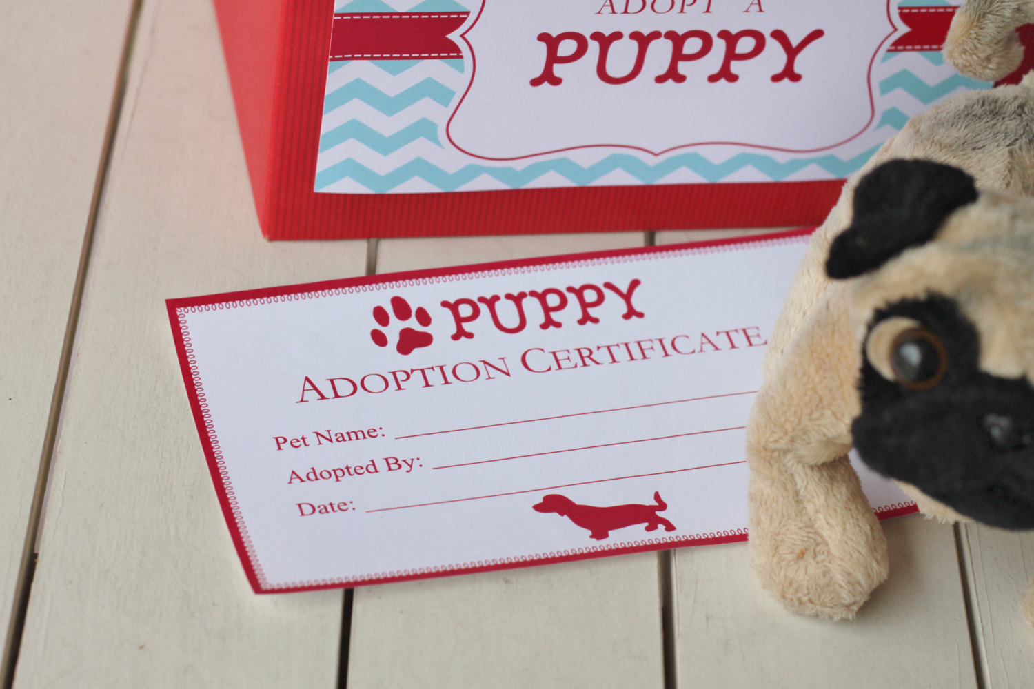 20 puppy adoption boxes and certificates the homespun hostess puppy adoption cert xflitez Gallery