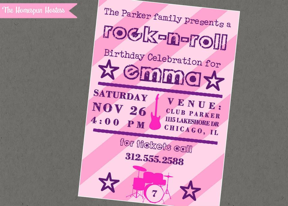 Rock-n-Roll Girl Printable Party Invite in PINK | The Homespun Hostess