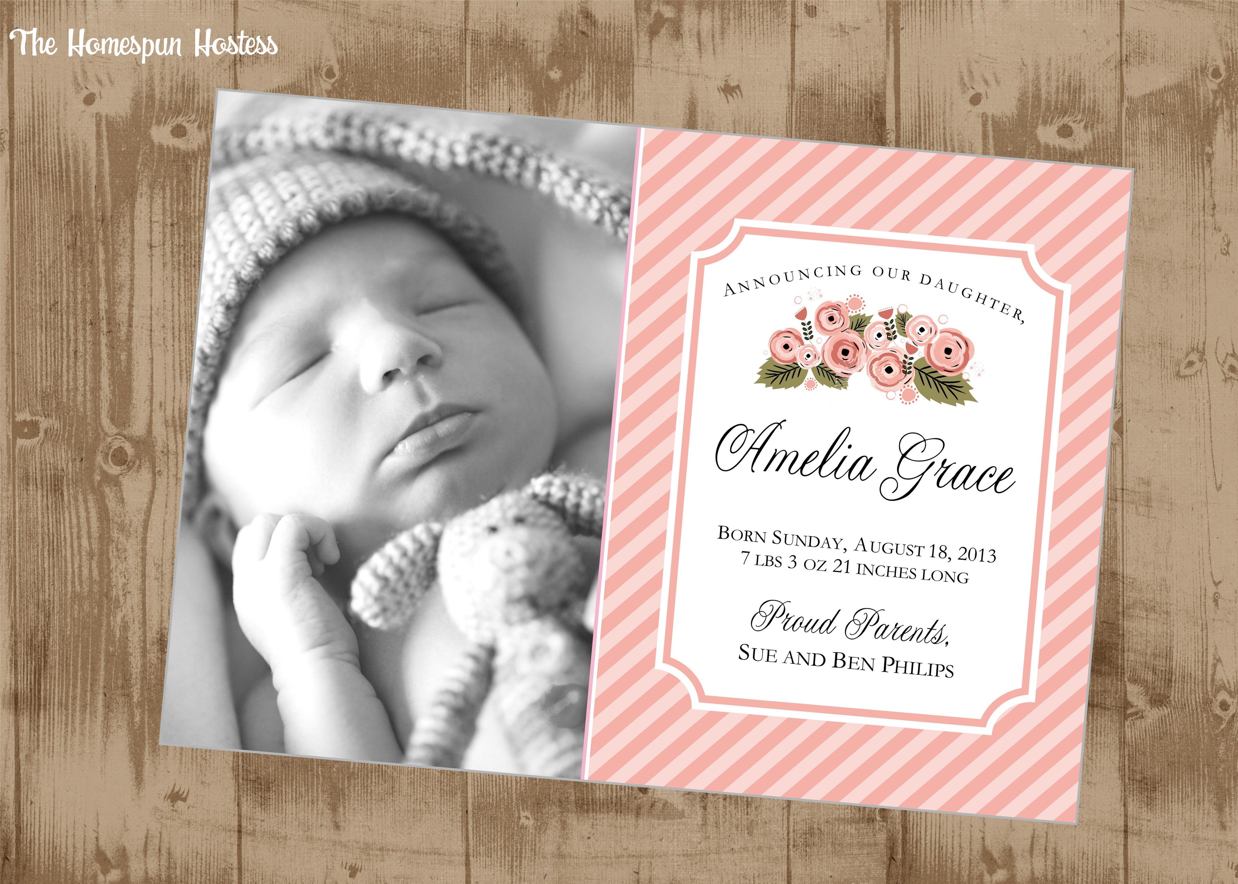 Baby Girl Vintage pink floral printable photo Birth Announcement – Vintage Birth Announcement