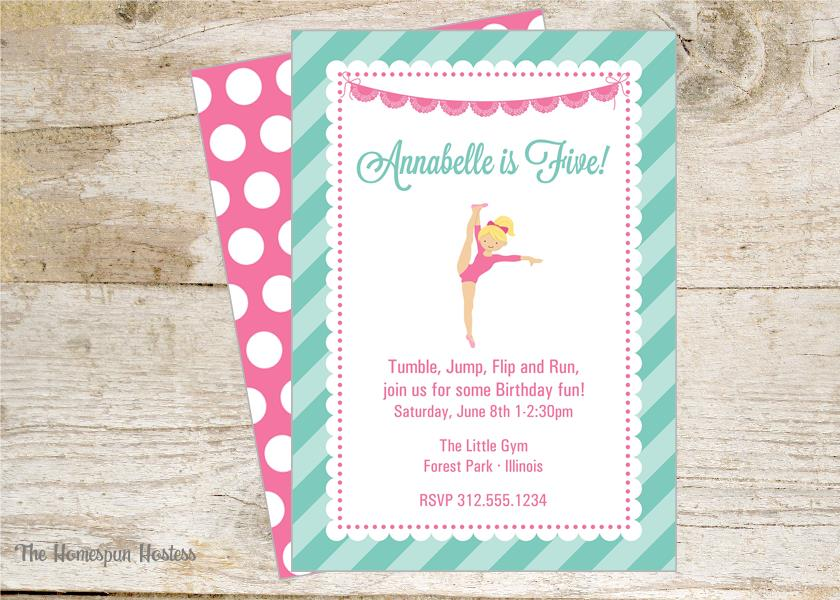 Gymnastics Party Printable Party Invite | The Homespun Hostess