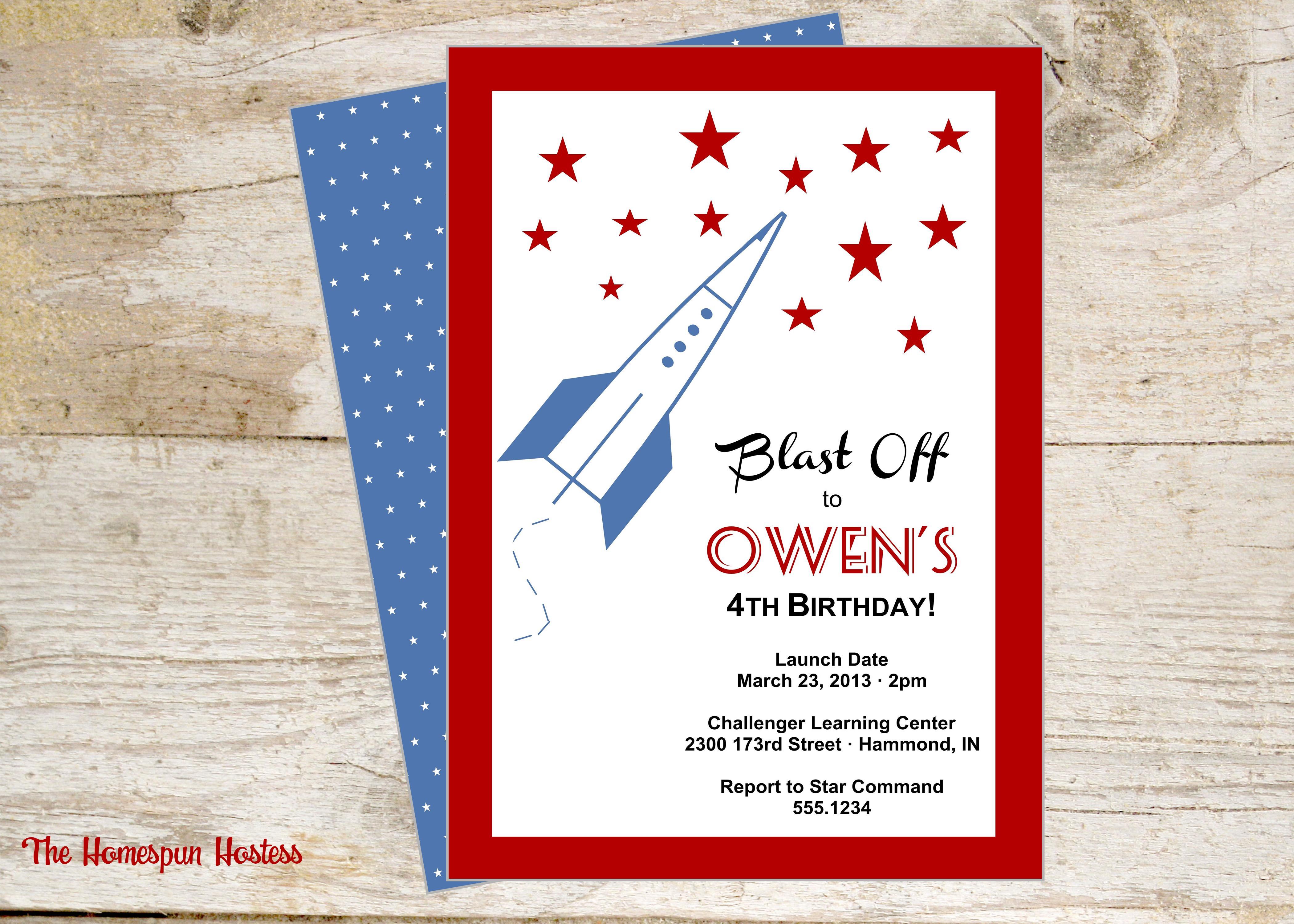 Rocket Outer Space Printable Invite | The Homespun Hostess