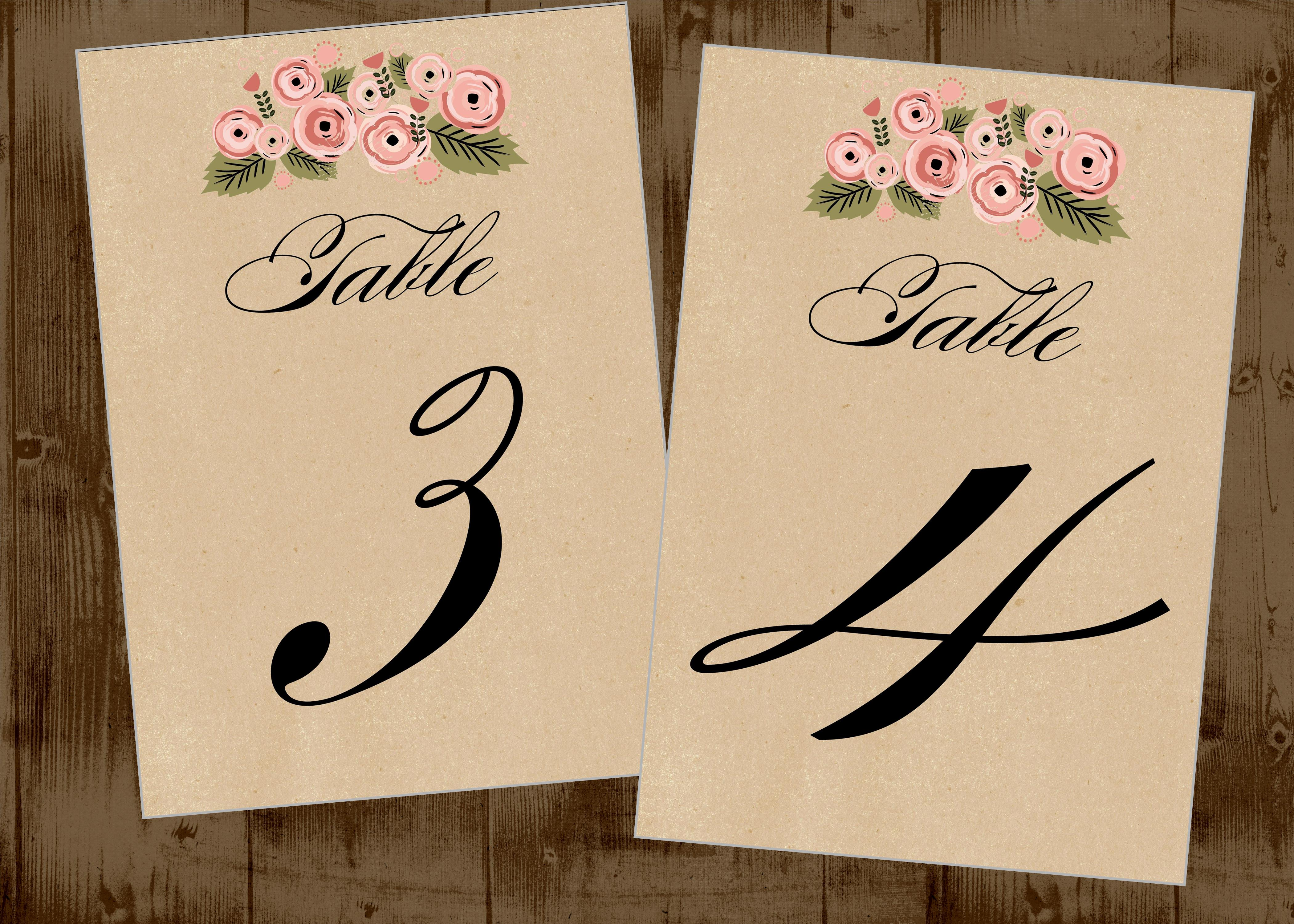 kraft rustic pretty floral table numbers for wedding printable 1