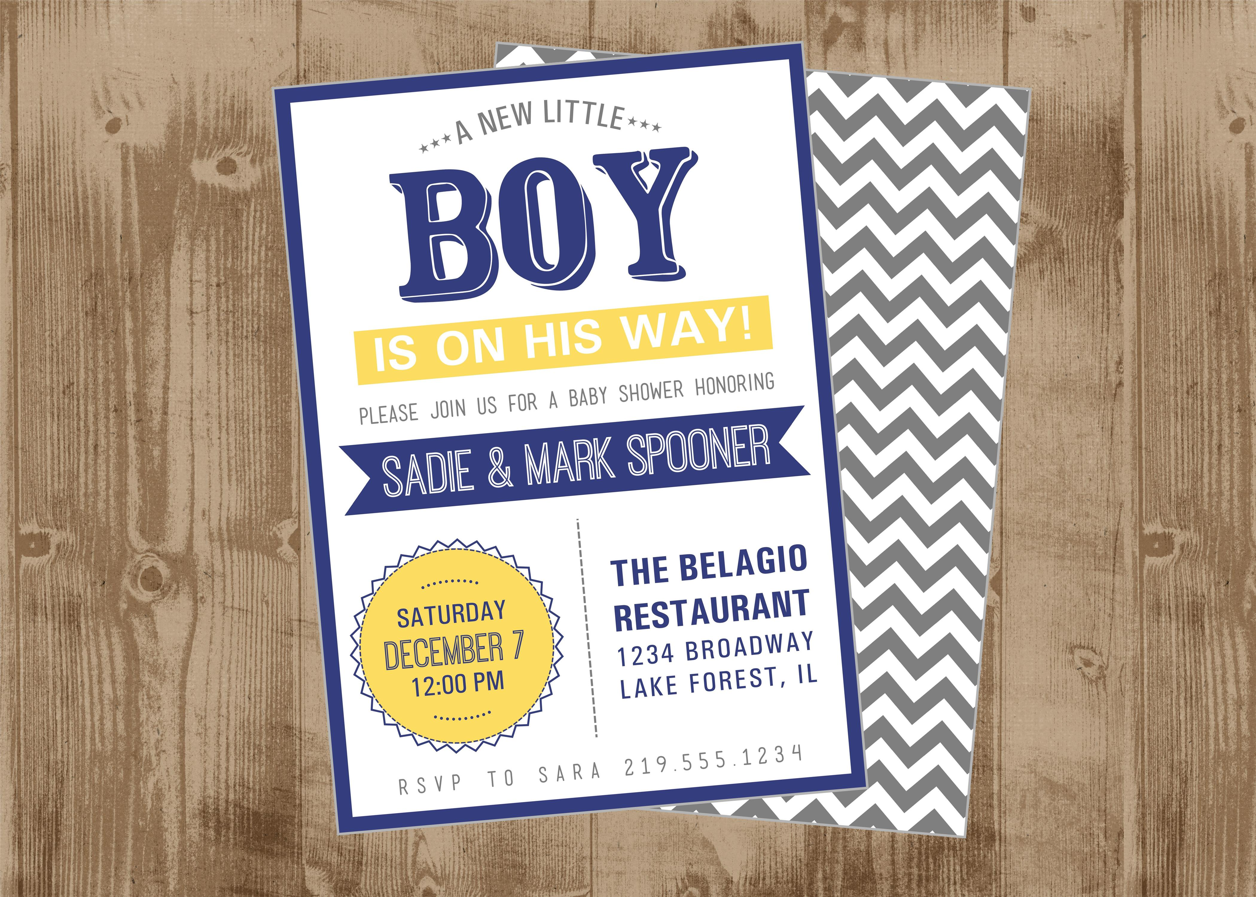 Modern BOY Baby Shower invitation in Navy Gray and Yellow Chevron