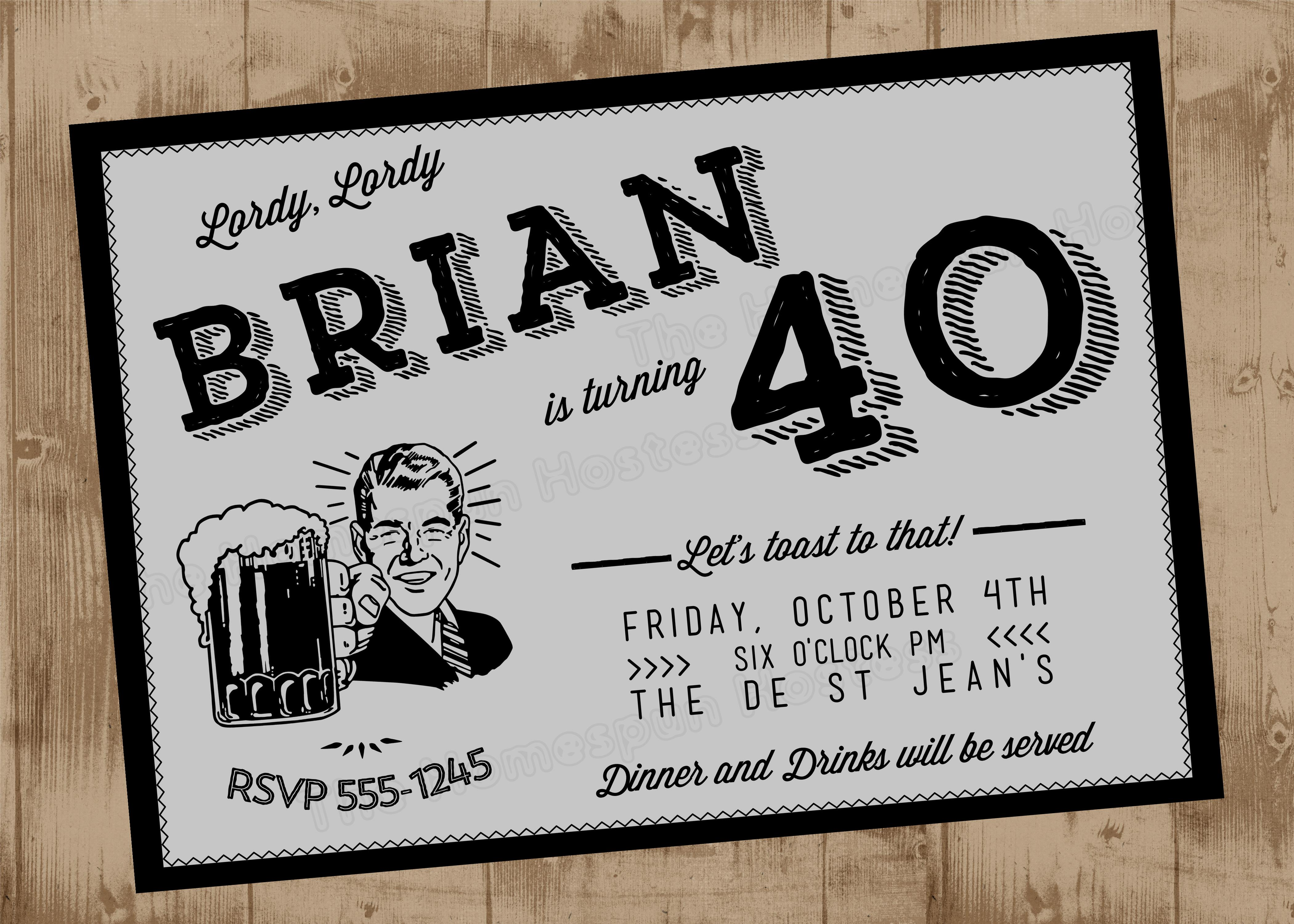 40th Birthday Retro Vintage FORTY Printable Party Invitation In Gray