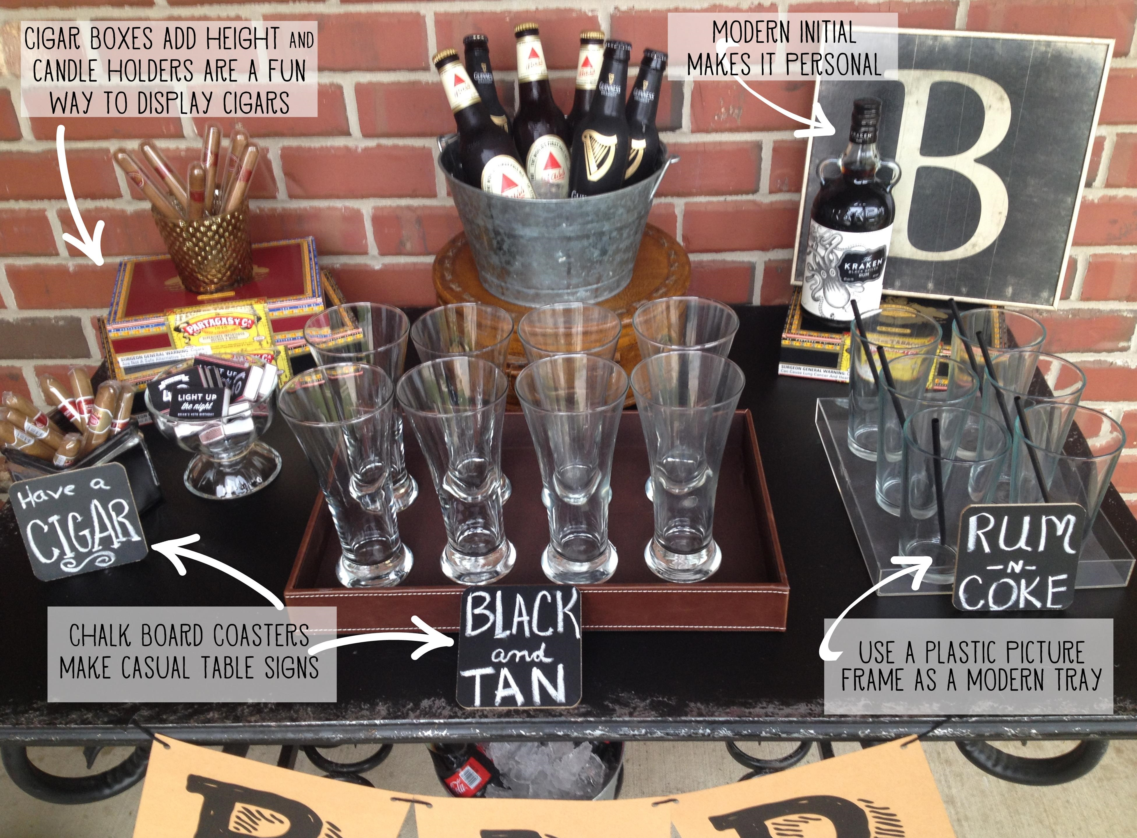 Masculine 40th birthday bar the homespun hostess for 30th birthday party decoration ideas for men
