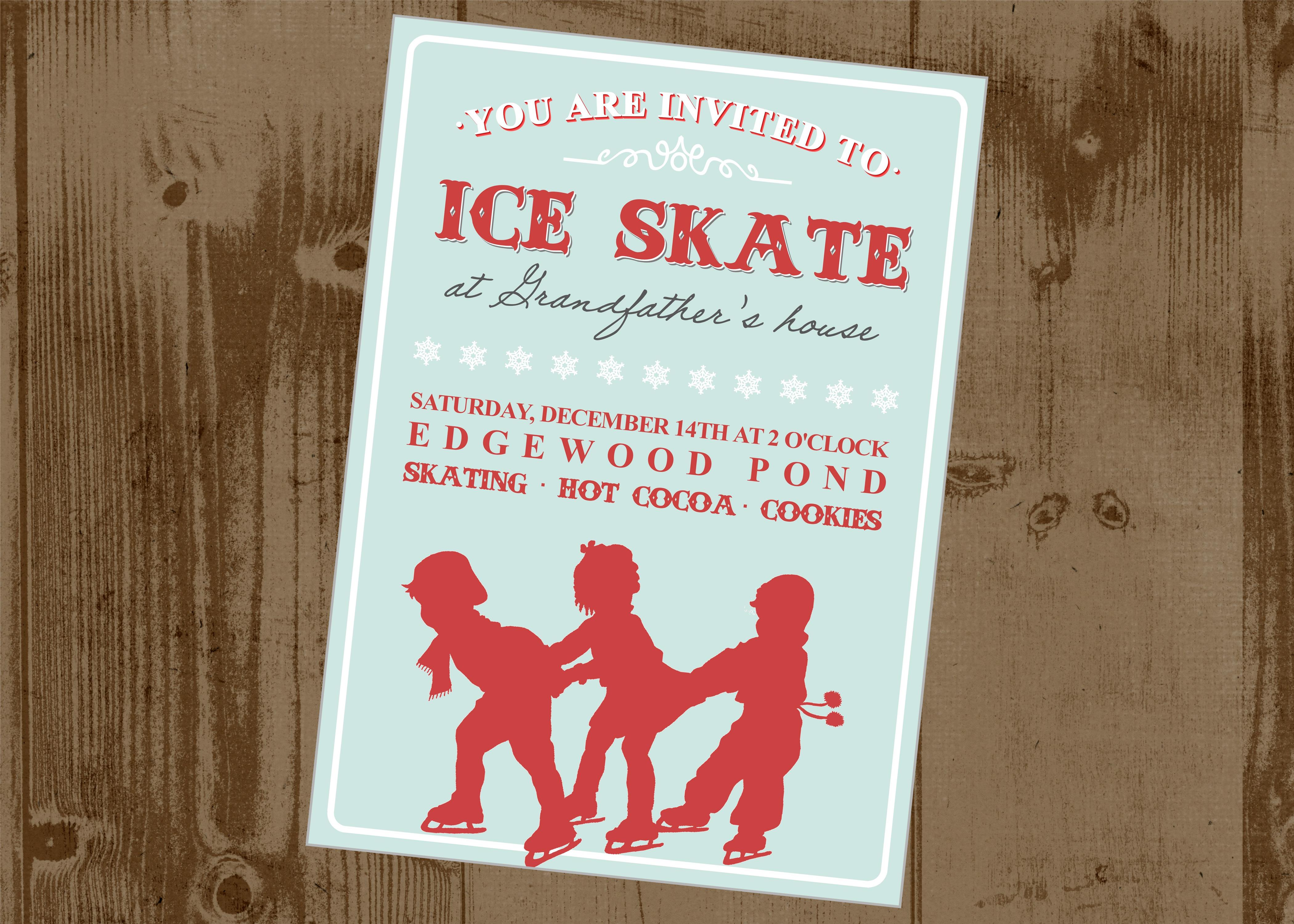 Ice Skating Printable Party Invitation Vintage Style | The ...