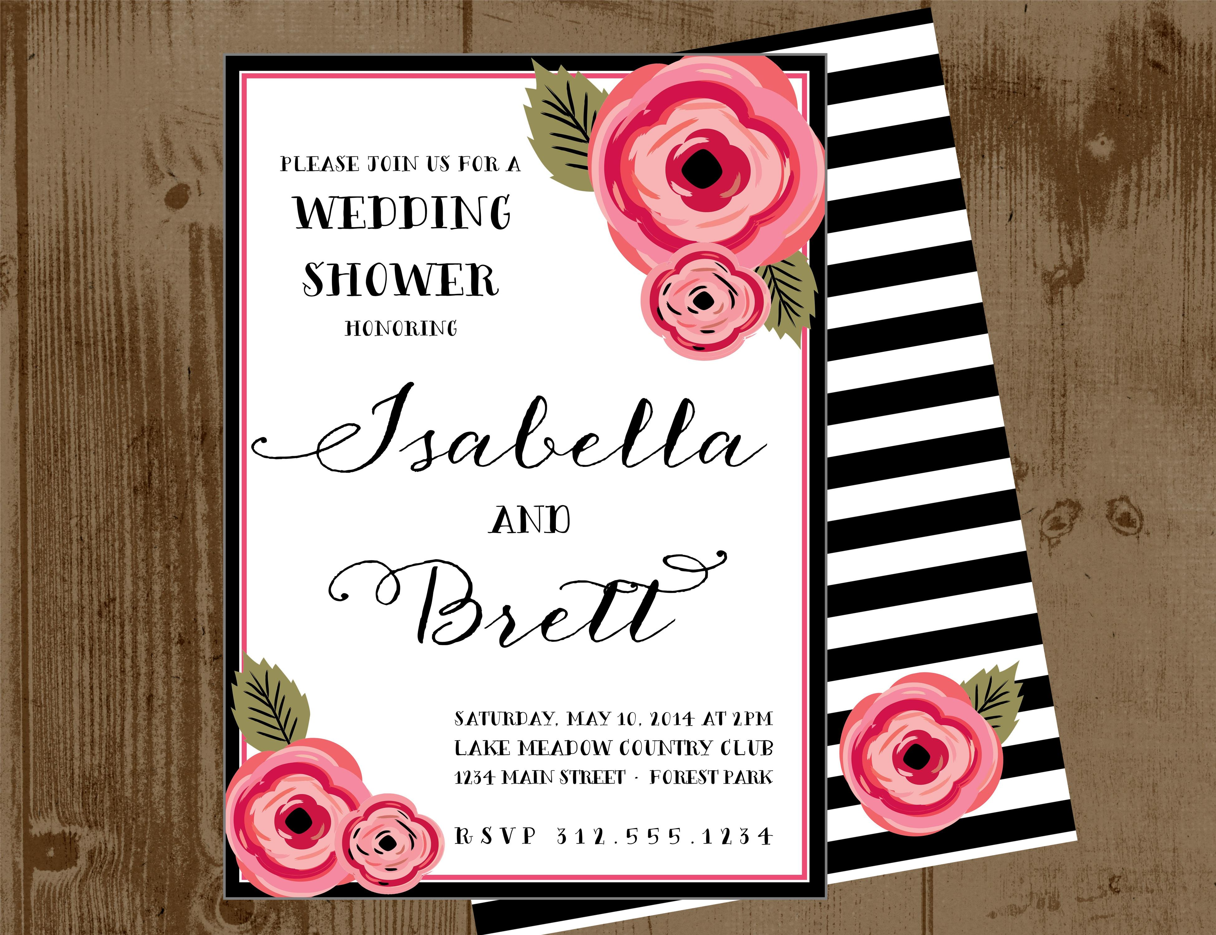 pink peony printable wedding shower invitation or save the date card black and white stripe back