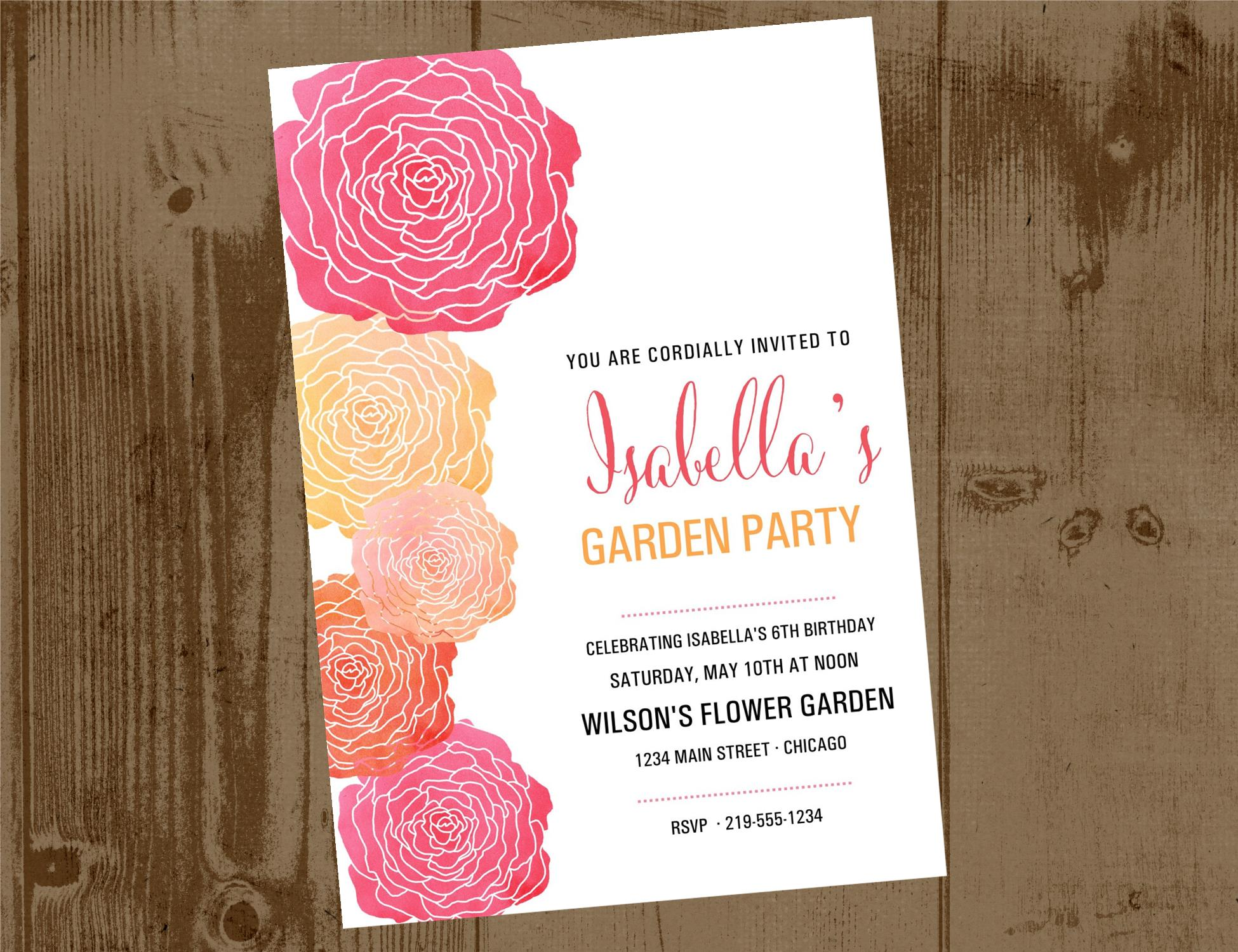 ccb9d47d875a Watercolor Flower Garden Party or Bridal Shower Printable Invite ...