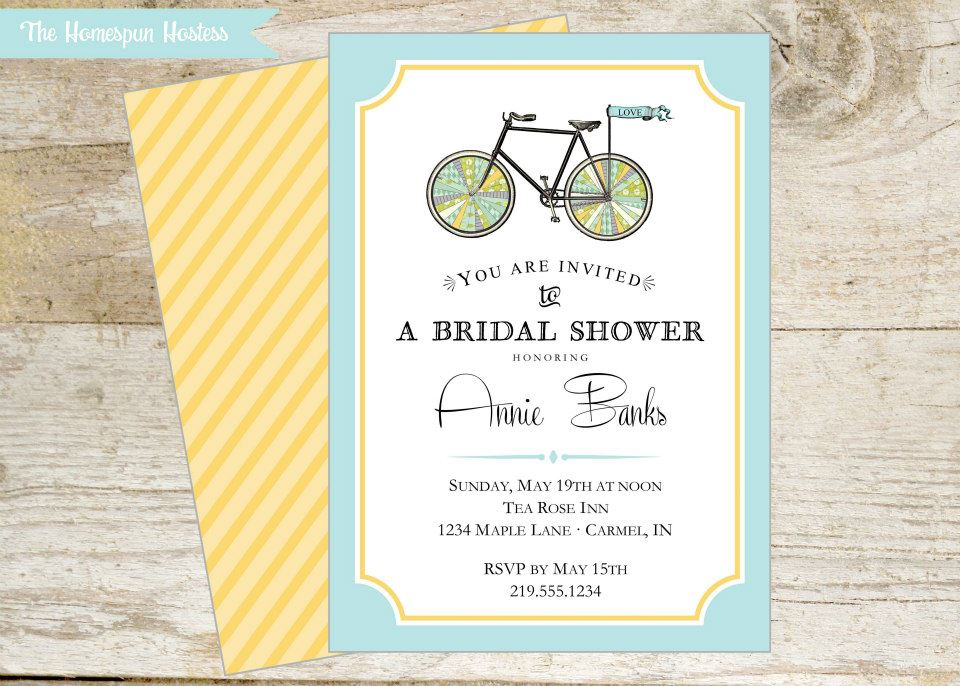 Bicycle bridal shower invitations bicycle modifications vintage bike wedding bridal shower printable invitation in yellow filmwisefo