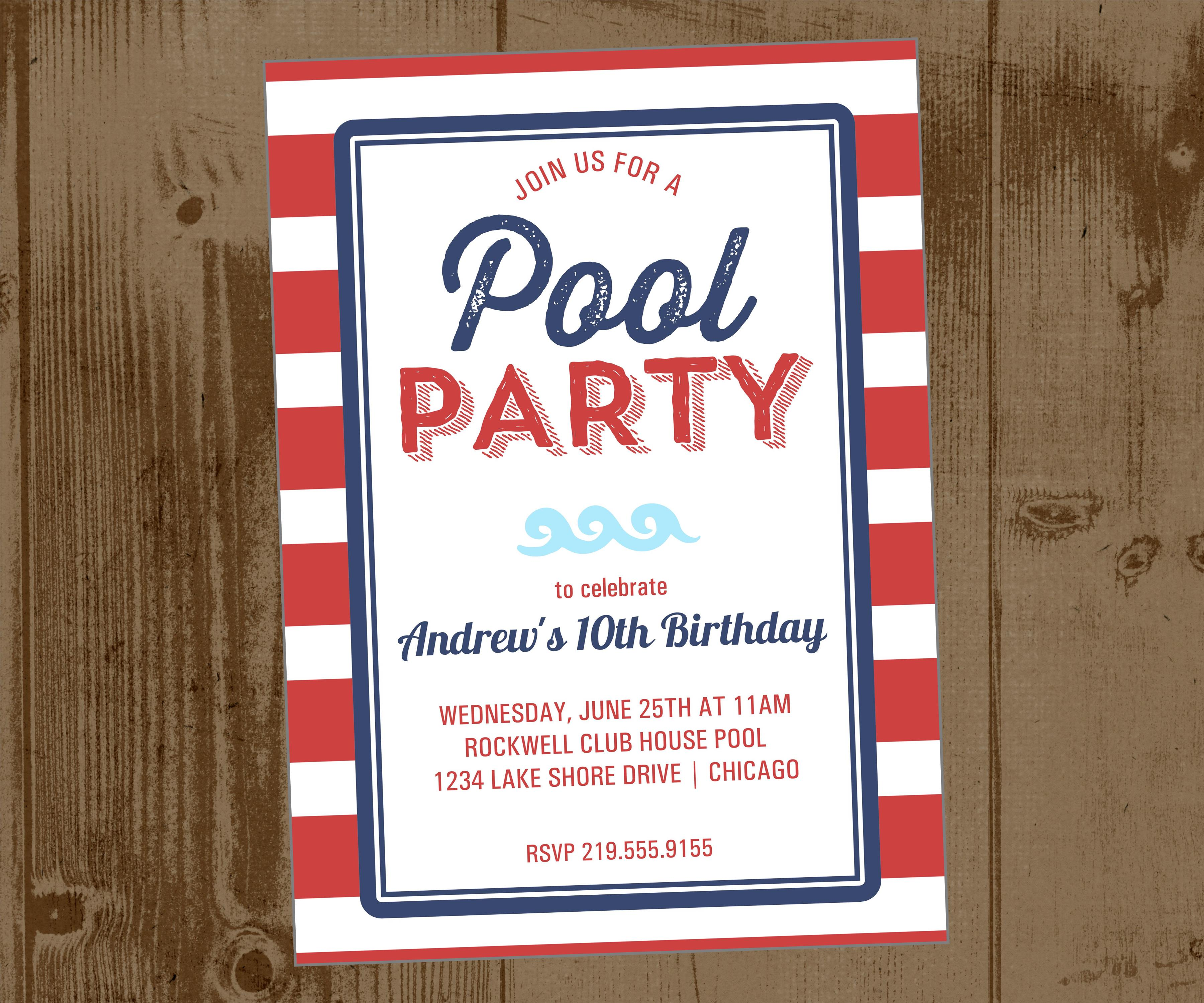Red Cabana Stripe Pool Party Printable Invite And Navy Blue