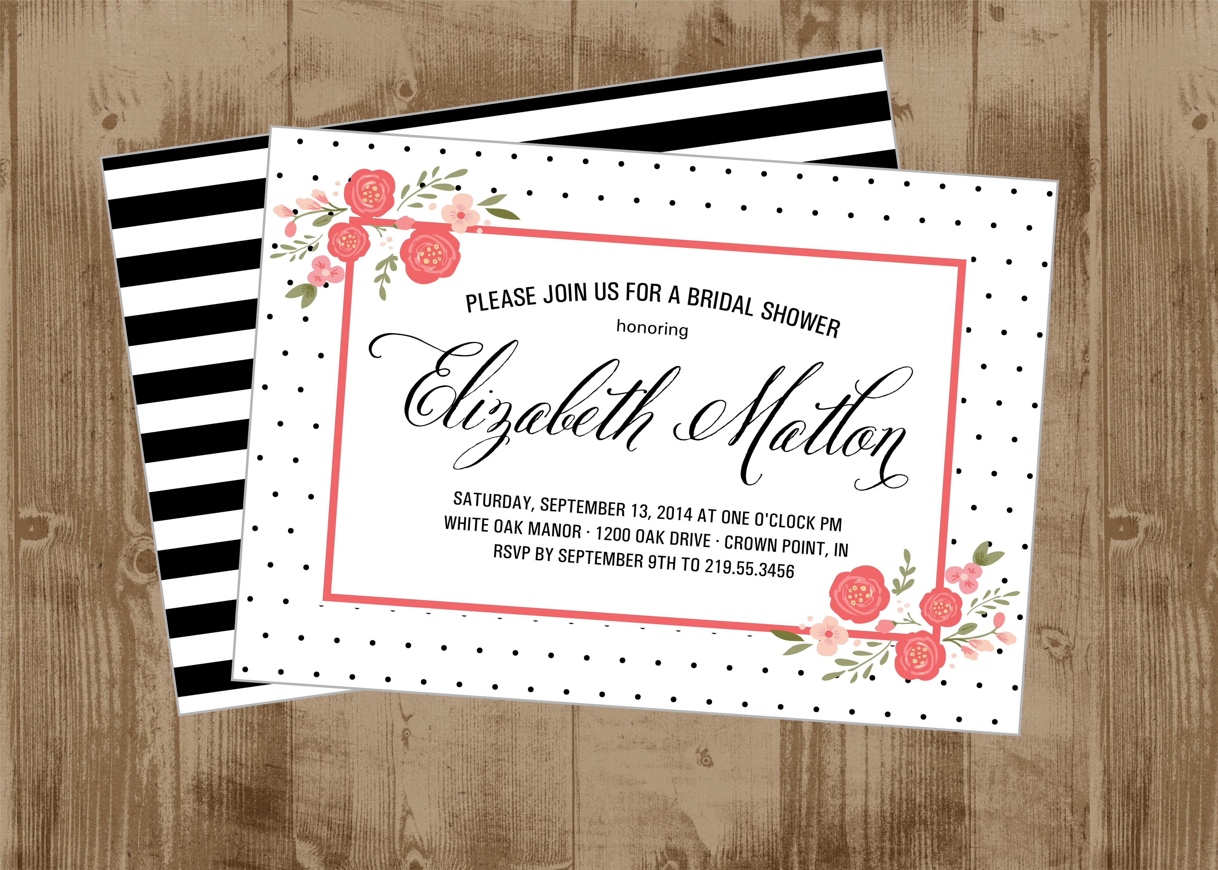 Black and White swiss dot Coral Pink Floral Wedding Shower ...