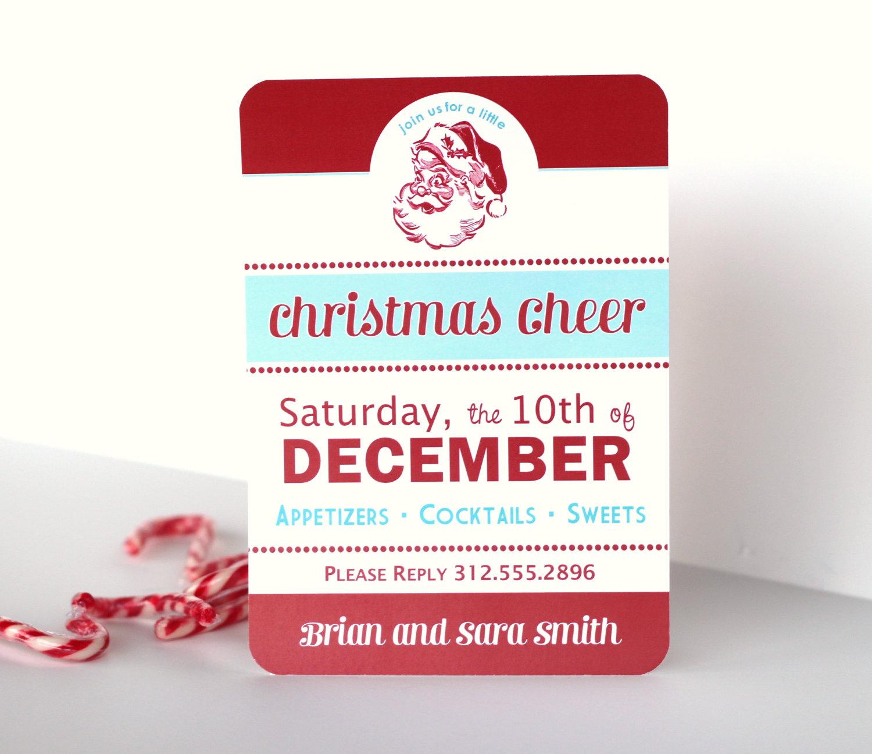 christmas retro santa printable invitation holiday cheer the holiday cheer invite
