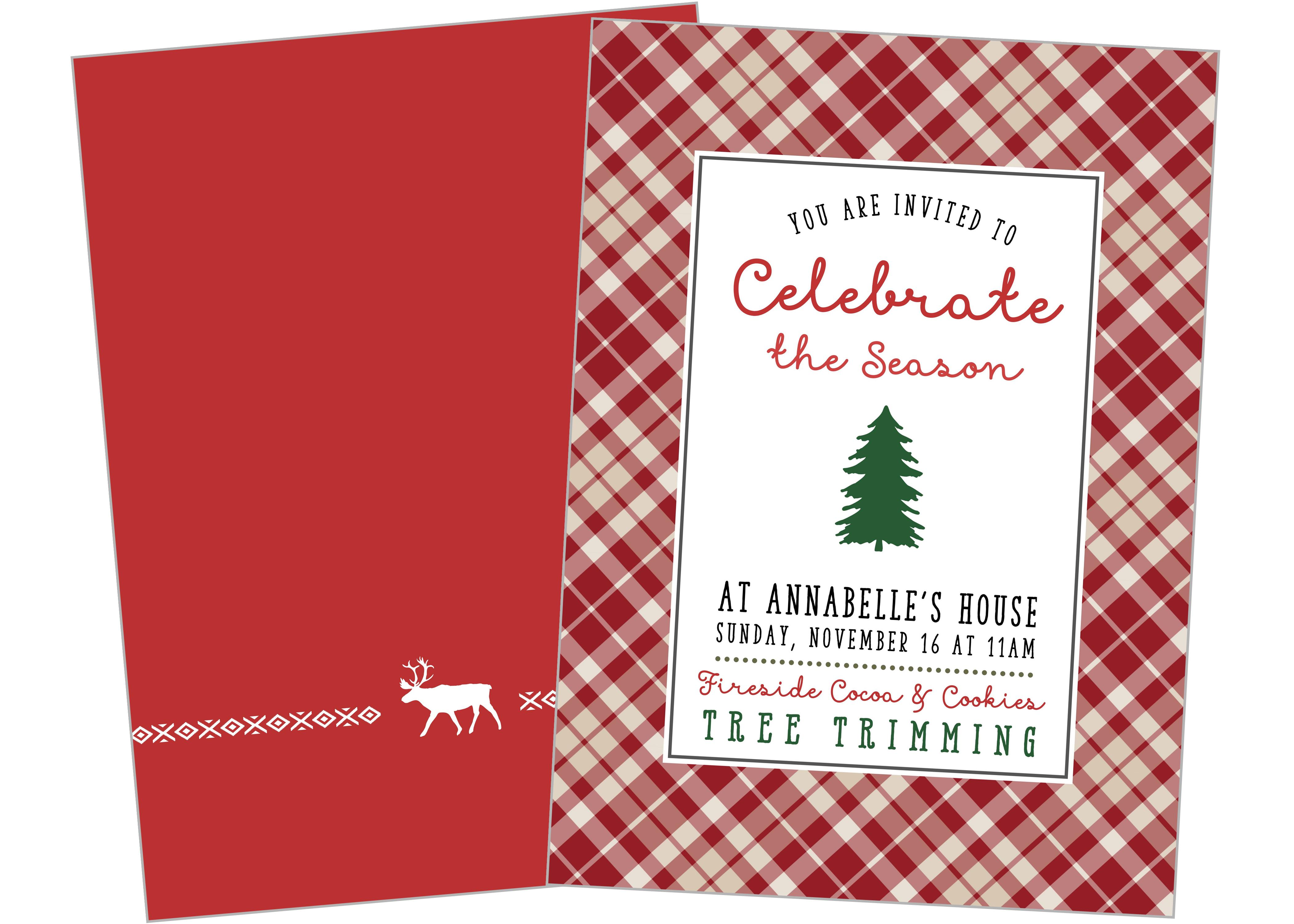 Tree trimming Party printable invitation Christmas Winter Season – Tree Trimming Party Invitation