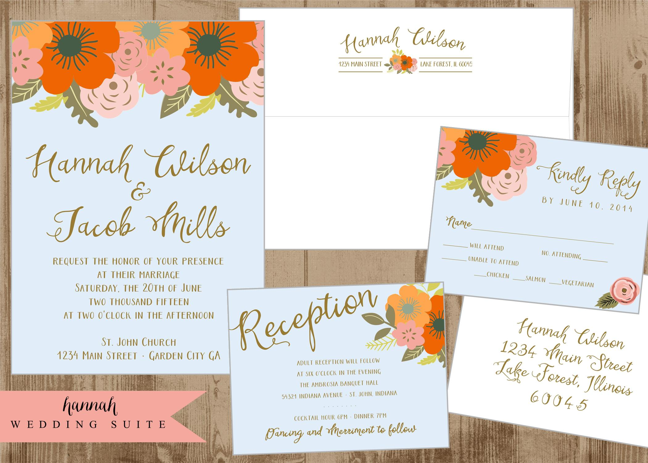 Printable Wedding Invitation Suite with Orange, Persimmon, Pink ...