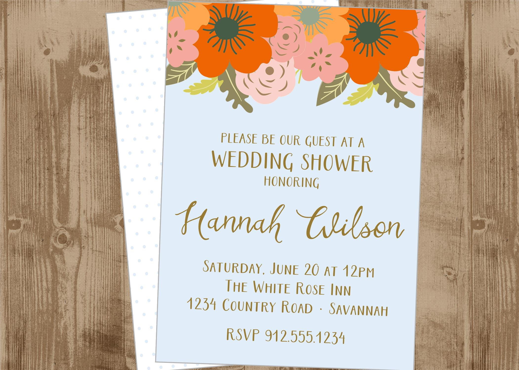 photograph relating to Printable Bridal Shower Invites named Printable Marriage ceremony Shower invite or Help you save the Day Card with Orange, Persimmon, Red, Coral, faded blue and Gold