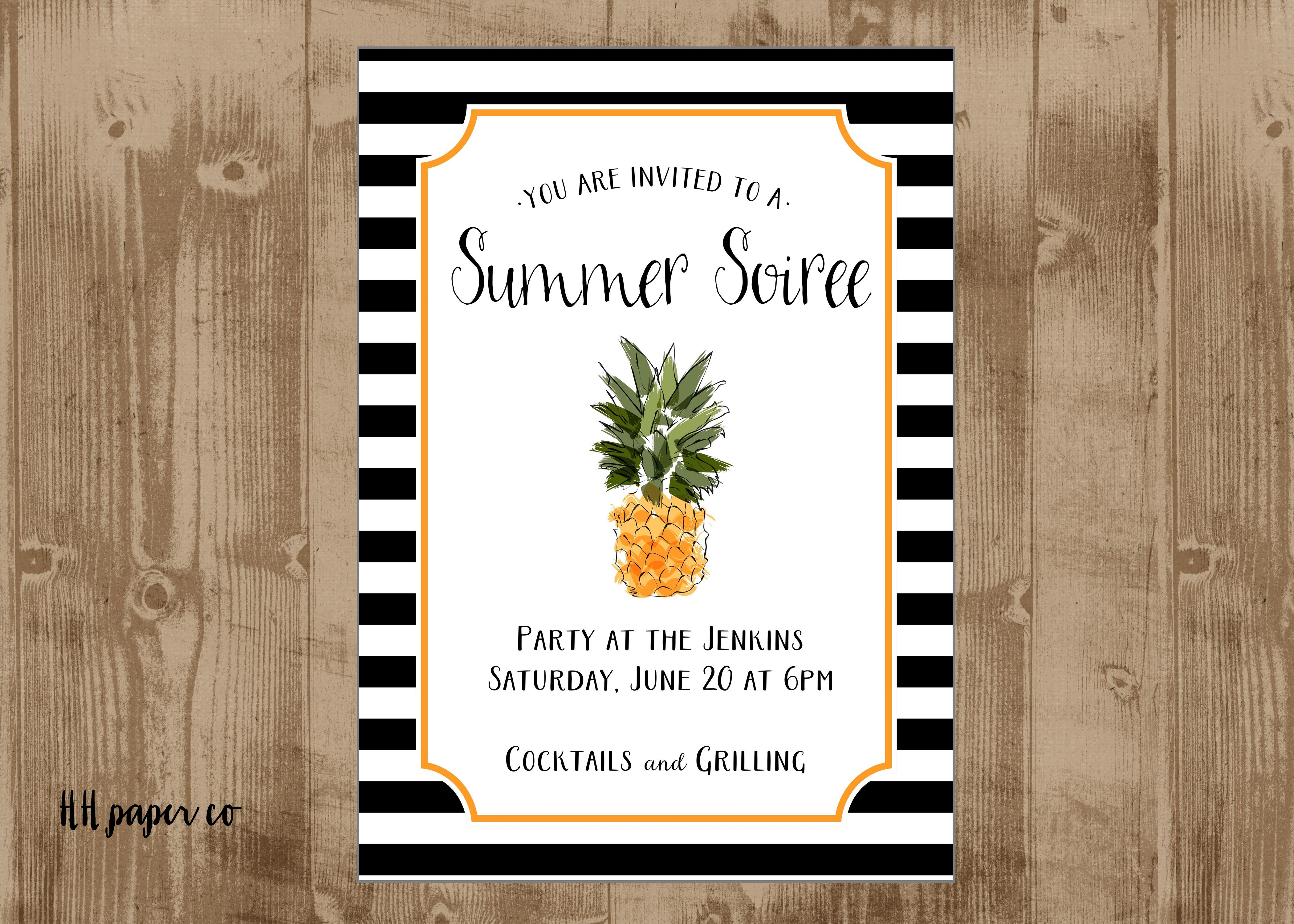 printable pineapple invite – black and white stripes – summe