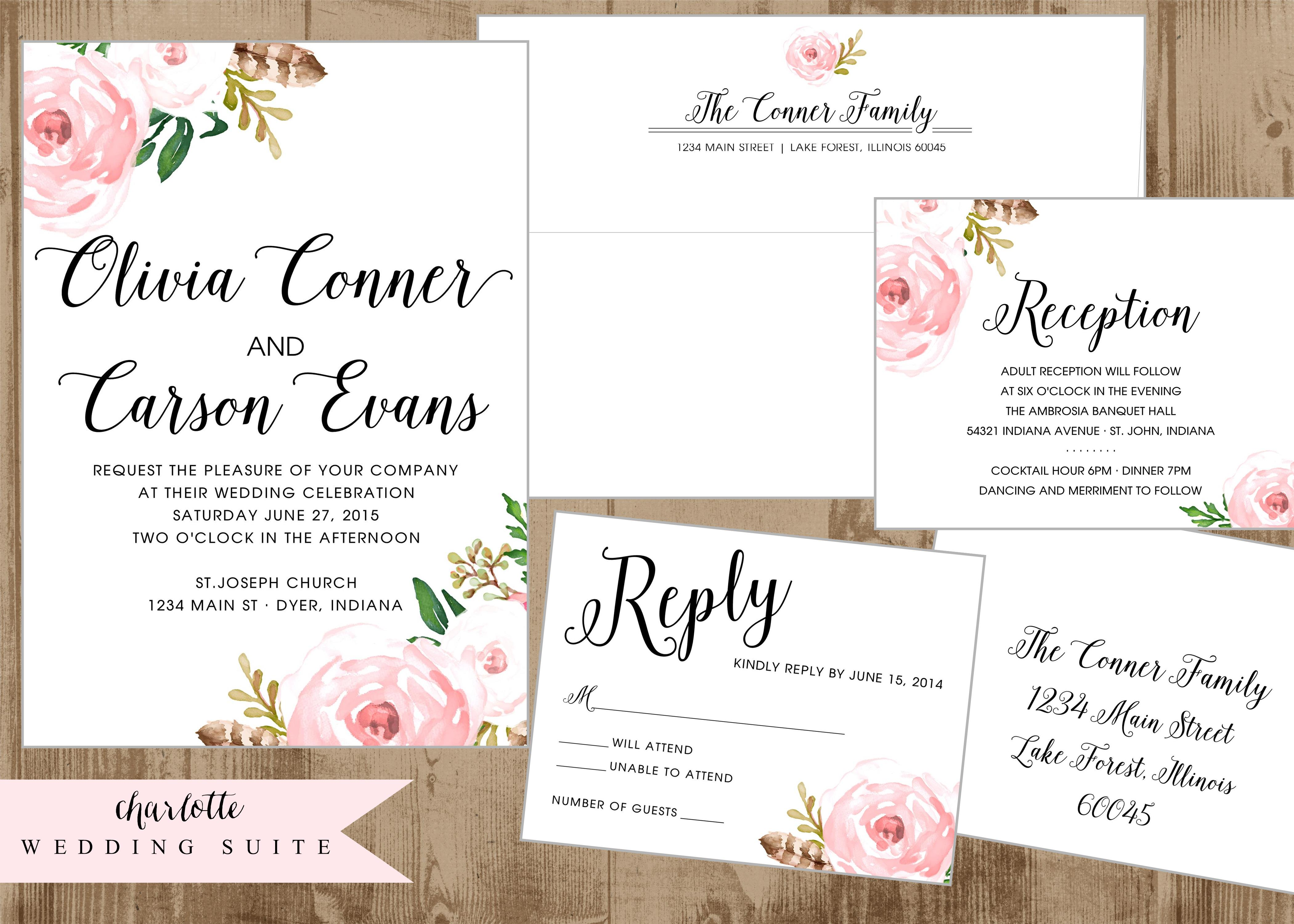 blush mint and gold wedding invitations blush wedding invitations printable wedding invitation suite with vintage pink flowers