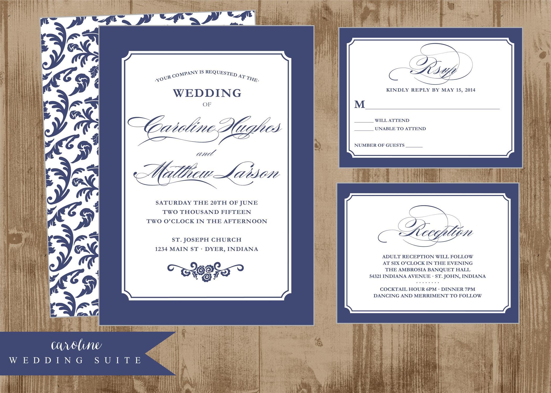 navy blue wedding invitations - Yelom.myphonecompany.co