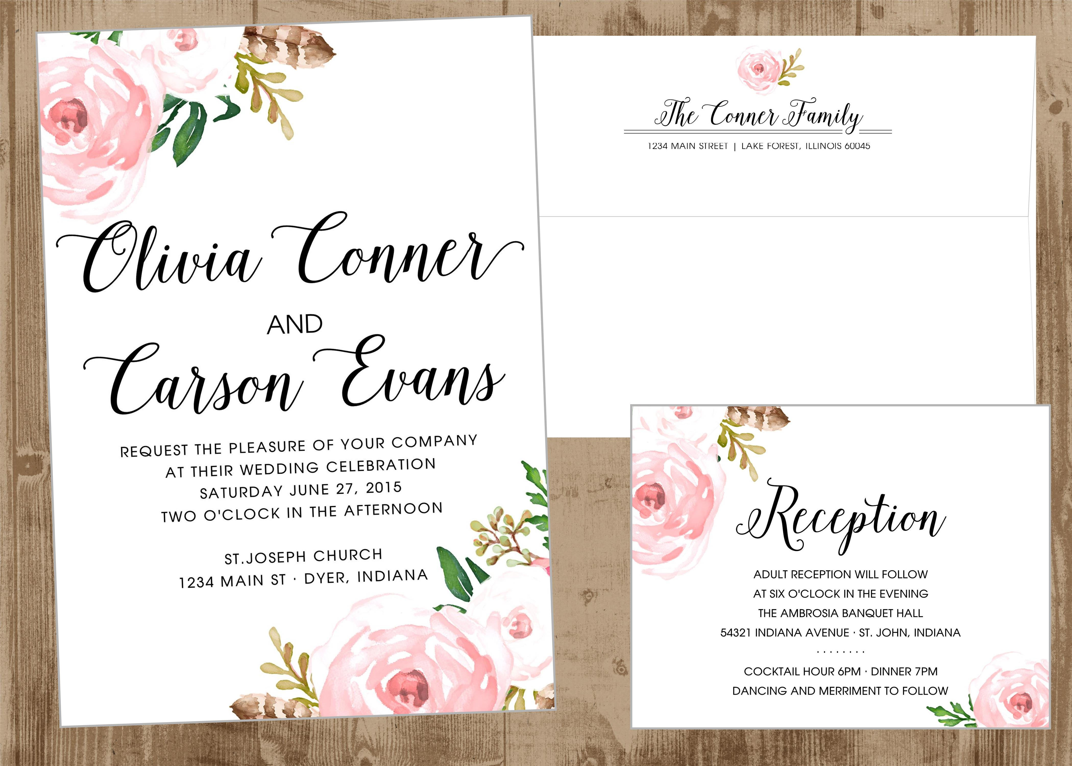 Printable Wedding Invitation Suite with Vintage Pink Flowers | The ...