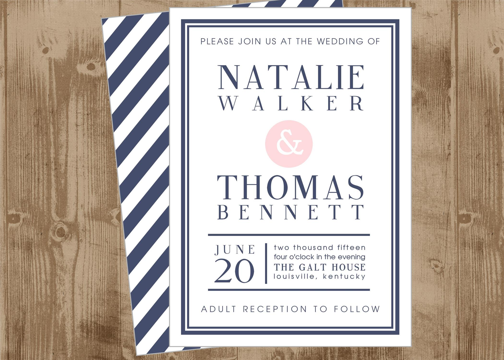 Printable Wedding Bridal Shower Invitation In Navy And Blush Pink