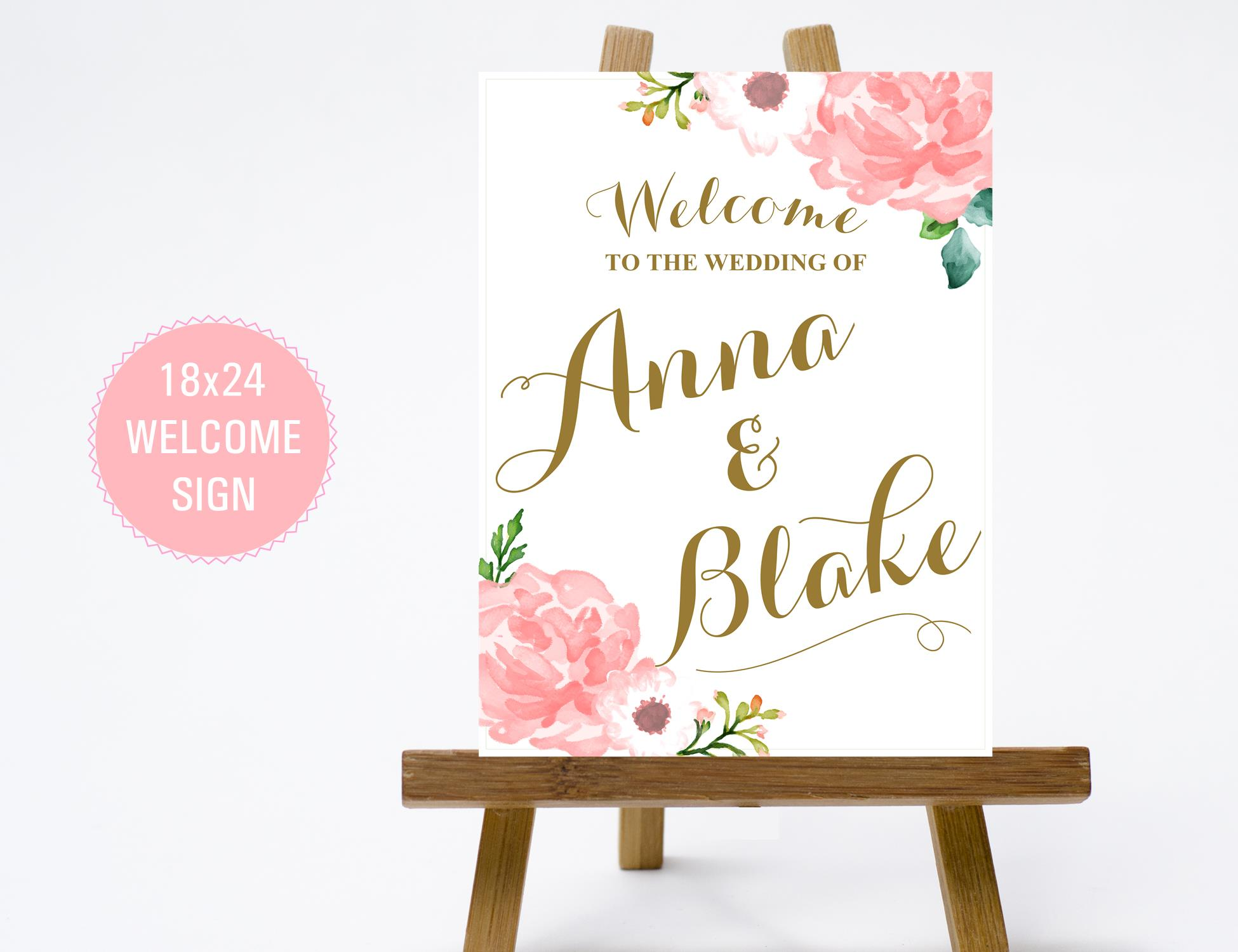 1824 vintage floral wedding welcome sign with pink flowers gold pink gold 18x24 mightylinksfo