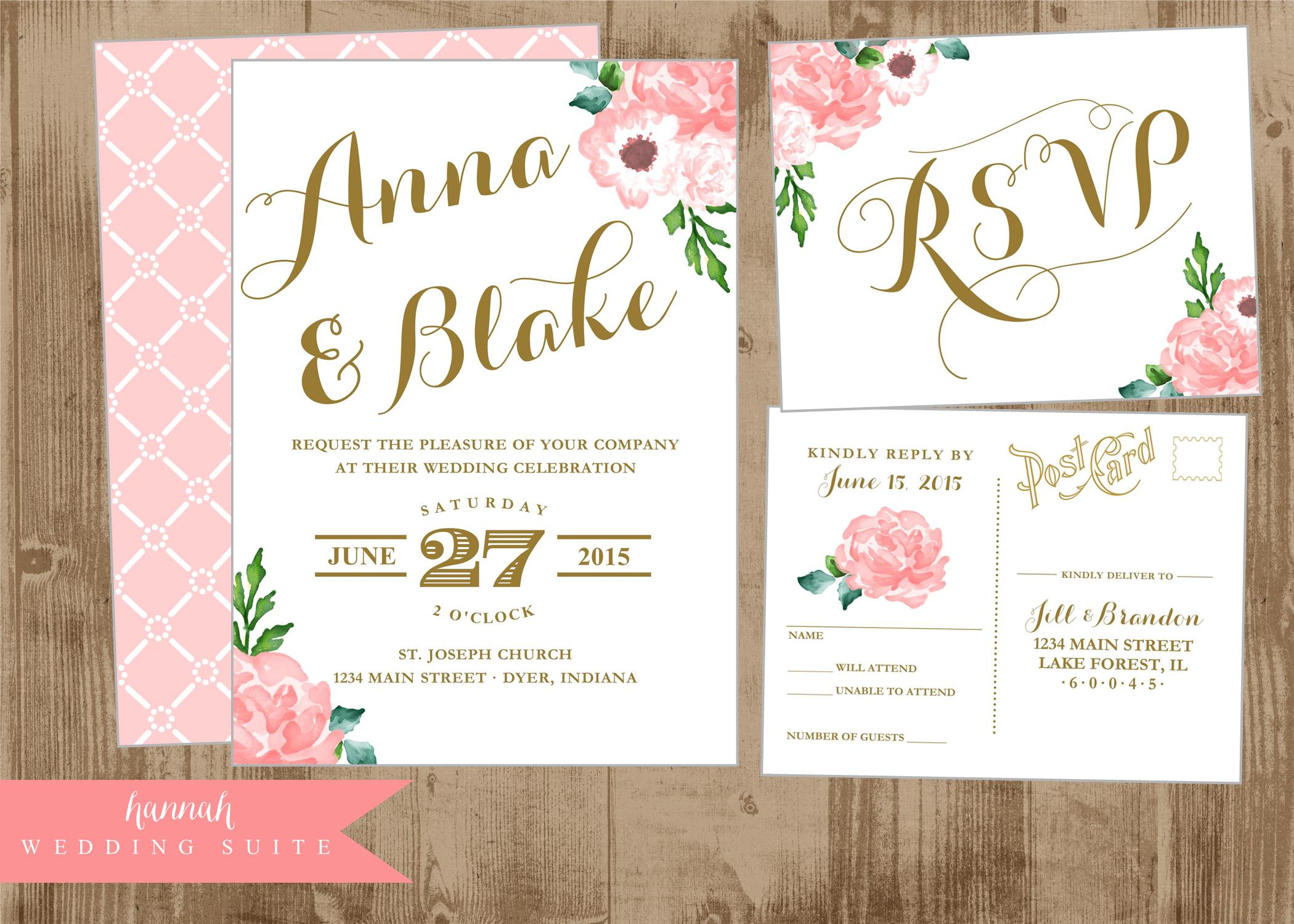 Printable Wedding Invitation Suite Pink and Gold Vintage Postcard ...
