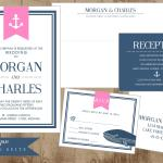 prep pink navy wedding set