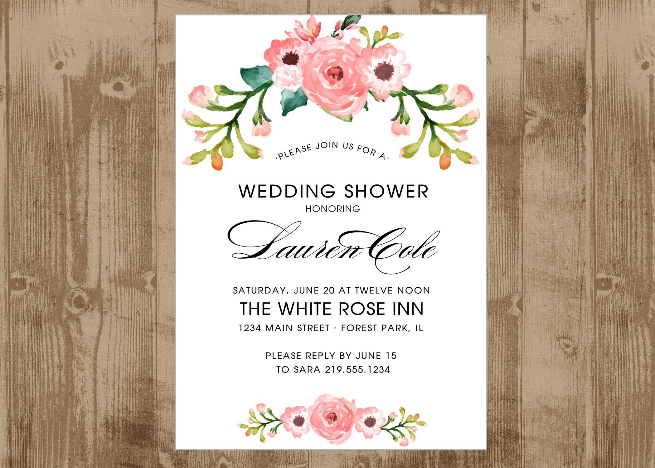 Printable Wedding Bridal or Baby Shower in pink Floral