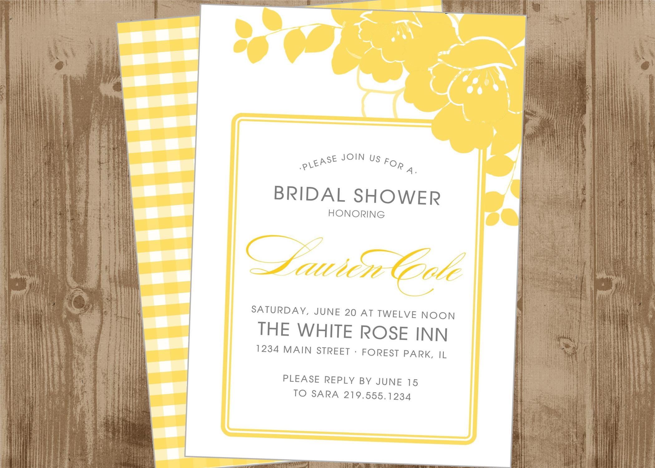Printable Wedding Bridal Shower Invitation In Custard Yellow Floral | The  Homespun Hostess