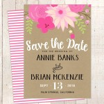 kraft bright pink green save date