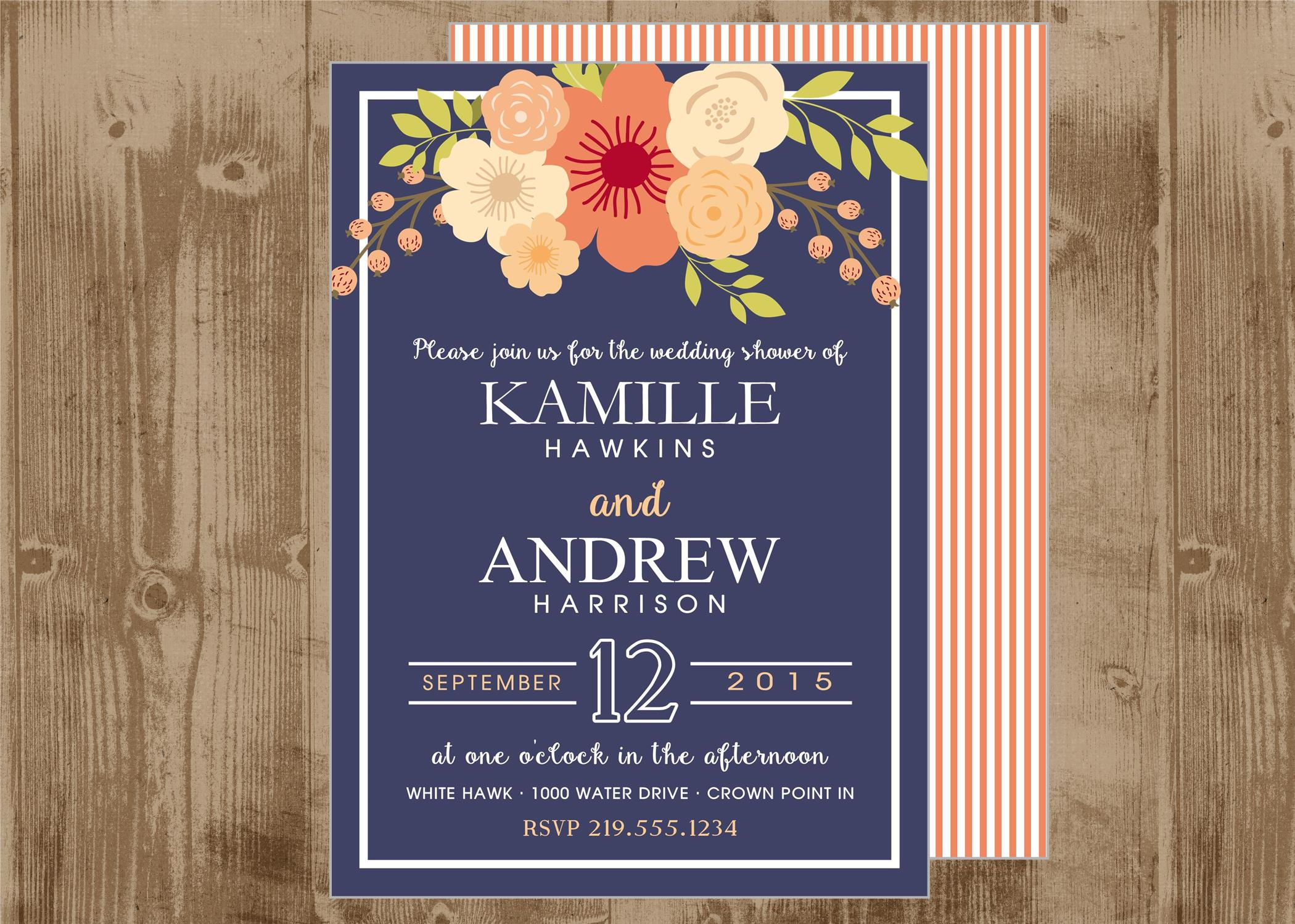 Fantastic Printable Wedding Bridal Shower Invitation in Navy and Peachy  UP97