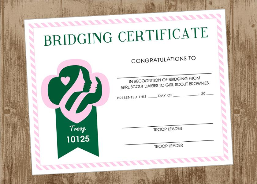 photograph regarding Girl Scout Certificates Printable Free named Printable Woman Scout Bridging Certification for Scouts